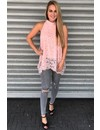 PINK - 'JANNY' - LACE OPEN BACK BOW TOP