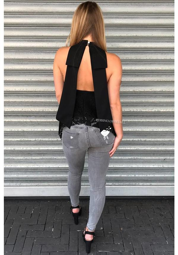 BLACK - 'JANNY' - LACE OPEN BACK BOW TOP