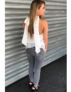 WHITE - 'JANNY' - LACE OPEN BACK BOW TOP