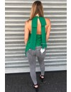 GREEN - 'JANNY' - LACE OPEN BACK BOW TOP