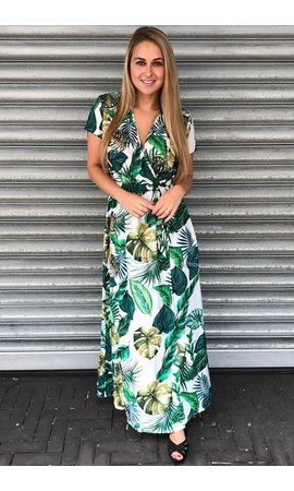 'MIAMI' - PALM LEAVES WRAP MAXI DRESS