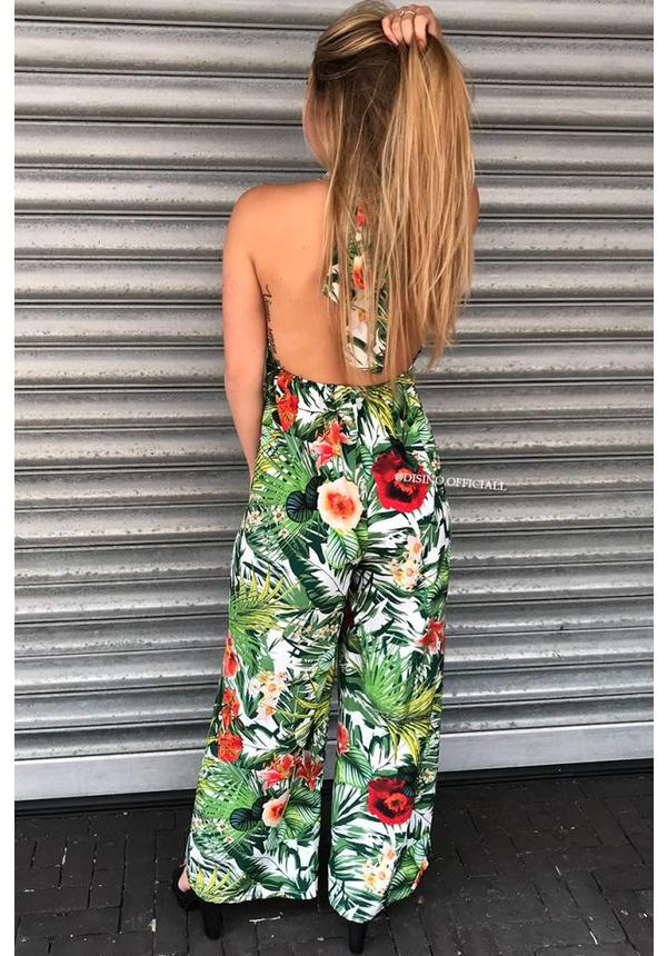 'FLORIDA' - PALM LEAVES TIE ON JUMPSUIT