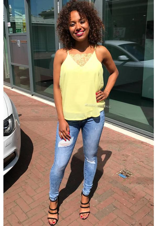 YELLOW - 'KELLY' BASIC LACE TOP
