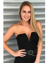 BLACK - 'ABBY' CLASSY V-DRESS