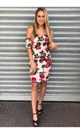 PINK - 'ROSELYN' FLORAL OFF SHOULDER DRESS