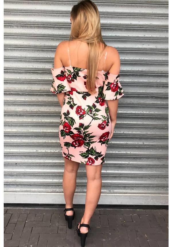 PINK - 'ROSELYN' FLORAL OFF SHOULDER DRESS