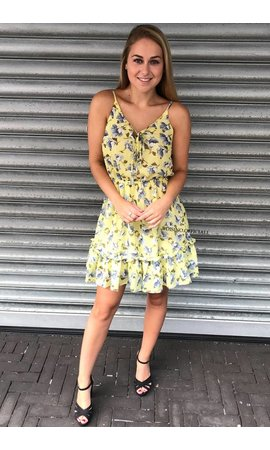 YELLOW - 'LAIYLA' FLORAL RUFFLE DRESS