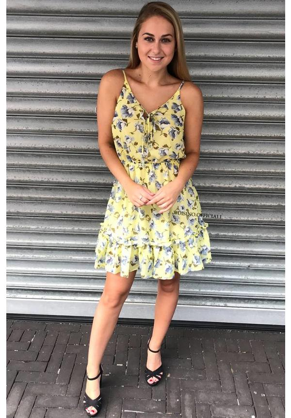 YELLOW - 'LAIYLA' FLORAL RUFFLE DRESS