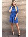 ROYAL BLUE - 'NAOMI' - LEOPARD SHORT SLEEVE DRESS