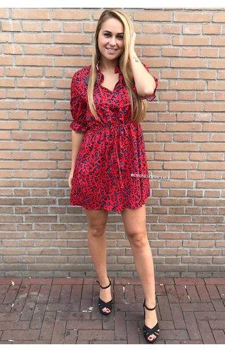 RED - 'NAOMI' - LEOPARD SHORT SLEEVE DRESS