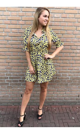 YELLOW - 'NAOMI' - LEOPARD SHORT SLEEVE DRESS
