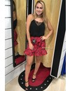 RED - 'LEONIE' - LEOPARD WRAP RUFFLE SKIRT