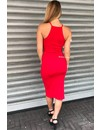RED - 'JAYNE' BASIC RIBBED DRESS