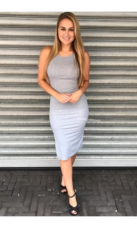 LIGHT GREY - 'JAYNE' BASIC RIBBED DRESS