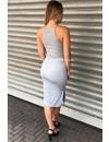 LIGHT GREY - 'JAYNE' BASIC RIBBED DRESS