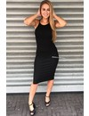 BLACK - 'JAYNE' BASIC RIBBED DRESS