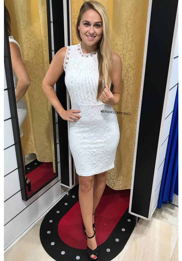 WHITE - 'MELISSA' LACE MIDI DRESS