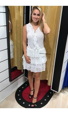 WHITE - 'NINA' LACE RUFFLE DRESS