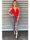 RED - MULTIWAY WRAP BODYSUIT
