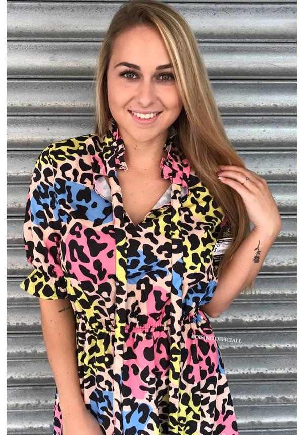 RAINBOW - 'NAOMI' - LEOPARD SHORT SLEEVE DRESS