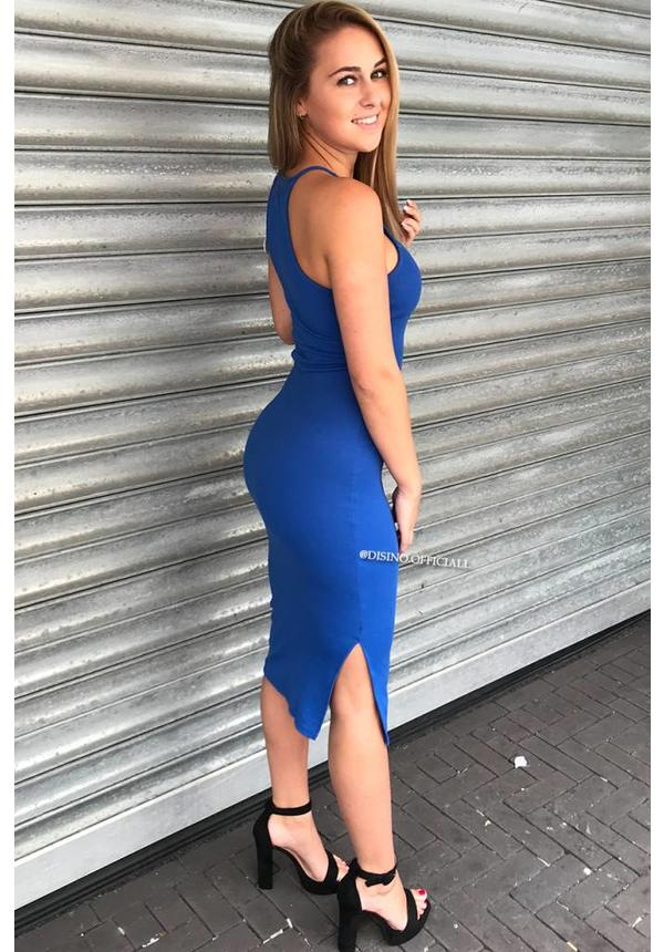 ROYAL BLUE - 'JAYNE' BASIC RIBBED DRESS