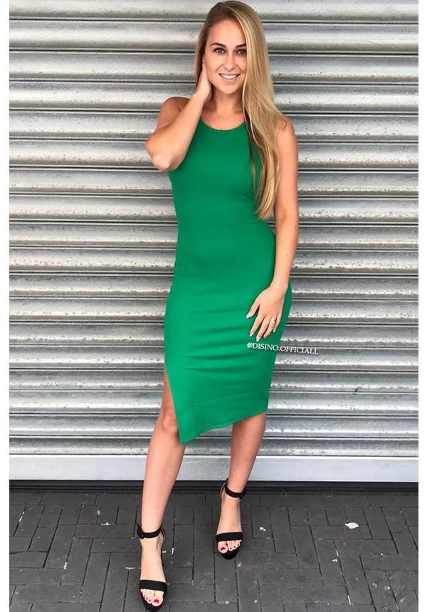 GREEN - 'JAYNE' BASIC RIBBED DRESS
