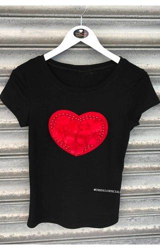 BLACK RED - PEARL HEART - BASIC TEE