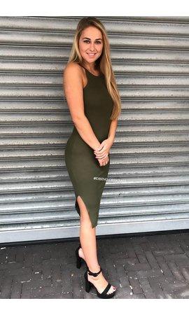 KHAKI GREEN - 'JAYNE' BASIC RIBBED DRESS
