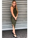 KHAKI GREEN - 'JAYNE' BASIC RIBBED DRESS