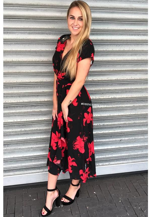 RED - 'CARLA' - FLORAL WRAP ON RUFFLE MIDI DRESS