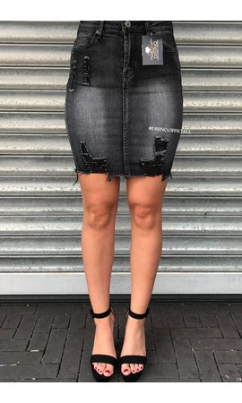 GREY - DISTRESSED DENIM SKIRT
