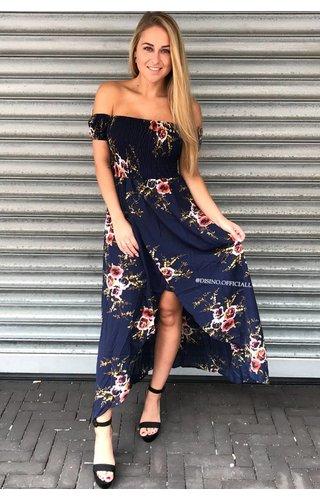 NAVY - FLORAL OVERLAP BARDOT DRESS
