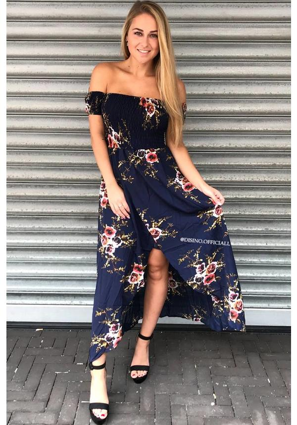 NAVY - FLORAL OVERLAP BARDOT DRESS