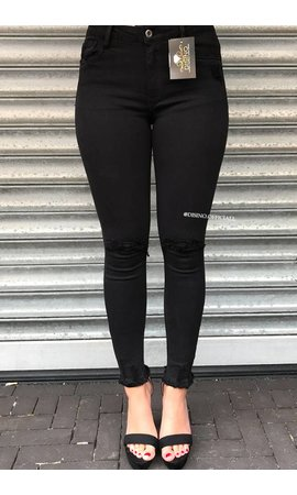 QUEEN HEARTS JEANS - BLACK - SUPER SKINNY RIPPED KNEE - 9003 - A1