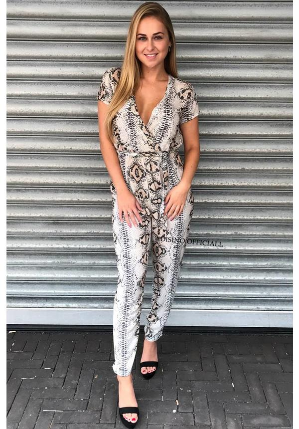 'NATHALY' - CLASSY SNAKE PRINT PLAYSUIT