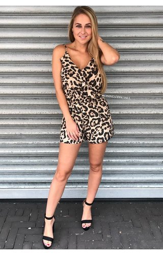 LEOPARD - RUFFLE PLAYSUIT