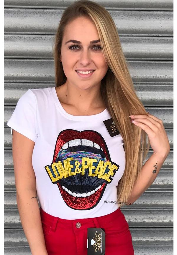 WHITE - LOVE & PEACE - TEE