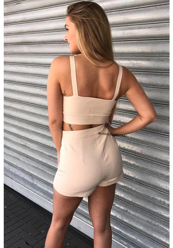BEIGE - 'KYLIE' - BUTTON UP TWO PIECE SET
