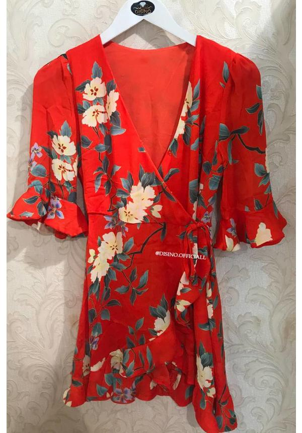 RED - 'SAMIRA' FLORAL RUFFLE PLAYSUIT