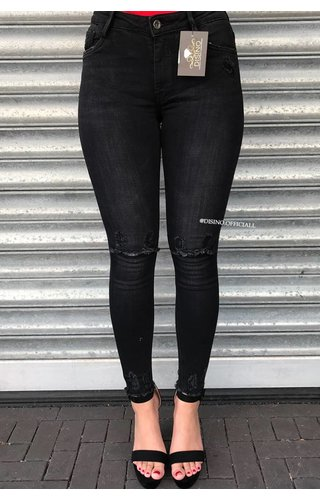 QUEEN HEARTS JEANS - BLACK DENIM - SUPER SKINNY RIPPED KNEE - 9003 - 2