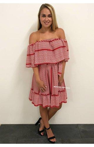 RED - 'DONNA BELLA' - INSPIRED OFF SHOULDER DRESS