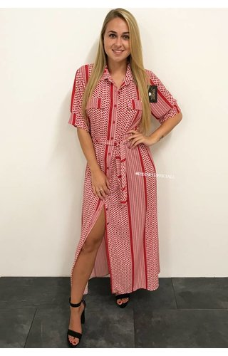 RED - 'DONNA BELLA' - INSPIRED BLOUSE MAXI DRESS