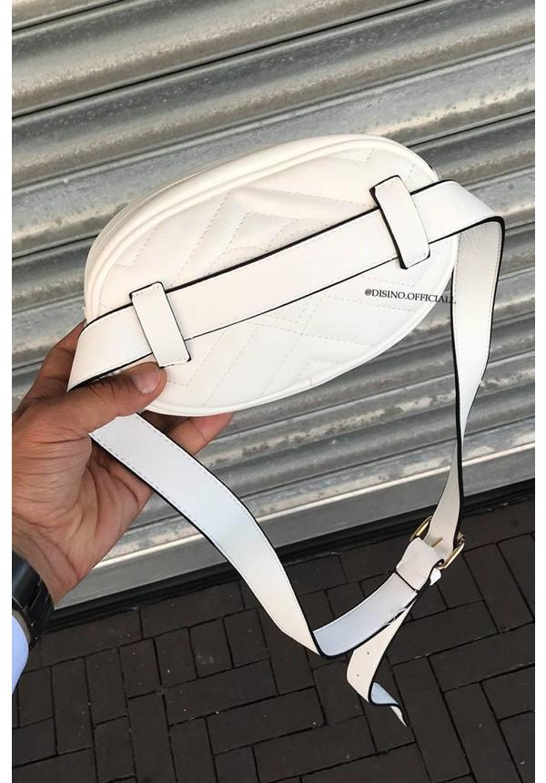 WHITE - 'MONICA' - INSPIRED GG FANNY PACK LEATHERLOOK