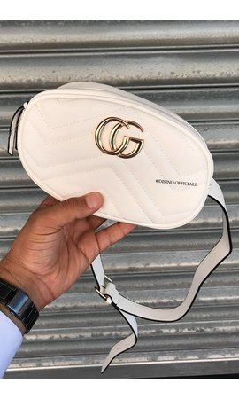 WHITE - 'MONICA' - INSPIRED GG FANNY PACK LEATHERLOOK