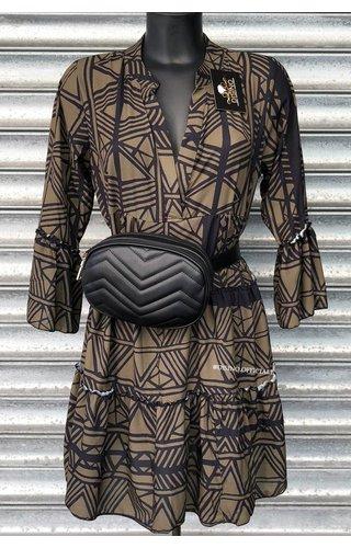 KHAKI BLACK - 'DONNA ISA' - PREMIUM QUALITY INSPIRED DRESS