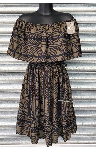 KHAKI BLACK - 'DONNA ISA' - OFF SHOULDER INSPIRED DRESS