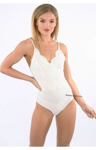 WHITE - 'JAIYLIN' CROCHET LACE BODYSUIT