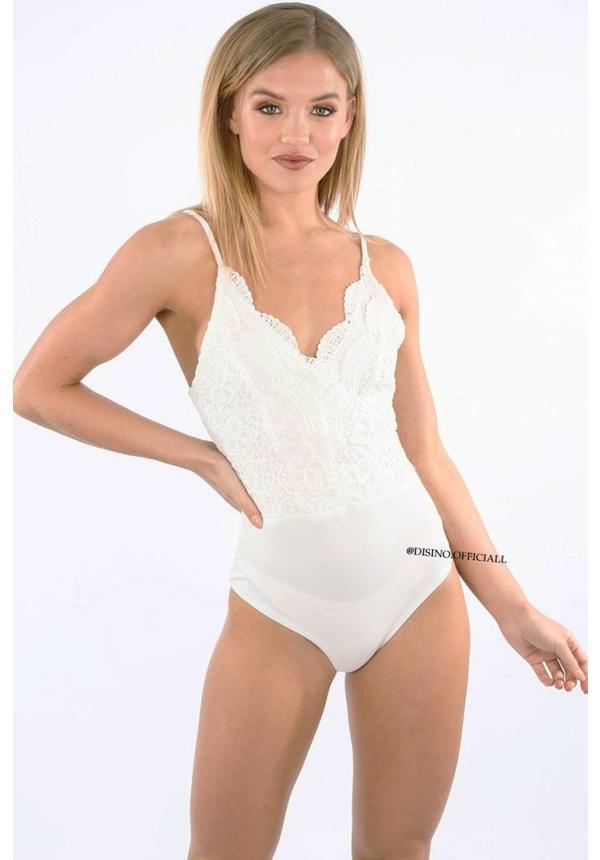 WHITE - 'JAIYLIN' CROCHET LACE BODYSUIT