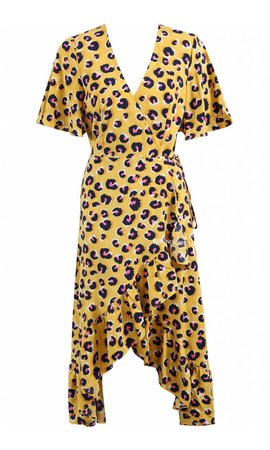 YELLOW - 'MANDY' - LEOPARD RUFFLE WRAP MIDI DRESS