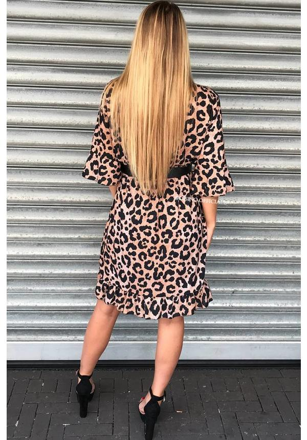 BROWN - 'LEAH' LEOPARD RUFFLE DRESS